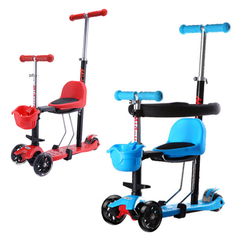 Children Tricycle Stroller Flash Wheels Child Balance Car Three Wheels Stroller Foldable Scooter Baby Walker Stroller 2 In 1 free shipping new children twist car with music baby walker a push rod stroller scooter