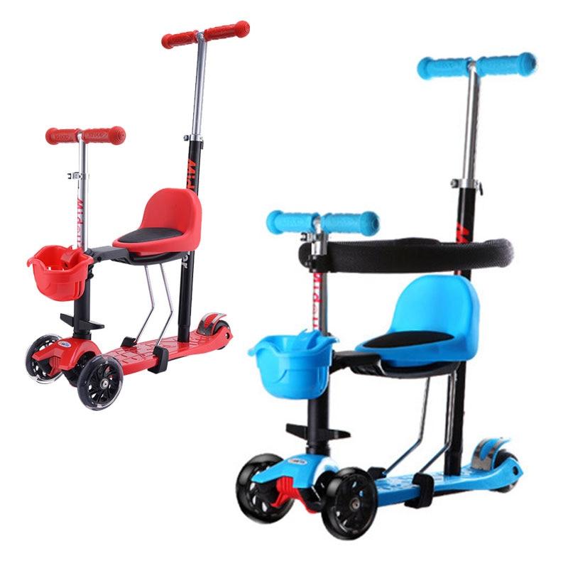 Enfants Tricycle poussette Flash roues enfant Balance voiture trois roues poussette pliable Scooter bébé marcheur poussette 2 en 1