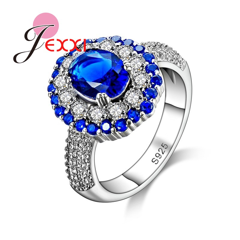 JEXXI Top Sale 925 Sterling Silver Ladies Engagement Wedding Ring Jewelry Luxury Sapphire Inlay Design Crystal Rings For Women