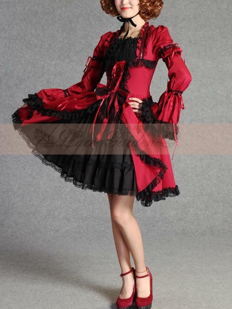 Princesse Lolita Costume Vintage gothique dentelle palais Cosplay robes de bal manches courtes multicouche princesse Lolita robes