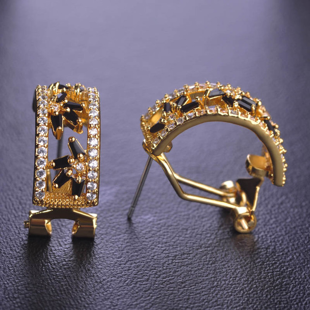 Bling Black Rhinestone Cz Stud Earrings For Women Stainless Copper Gold Color French Style