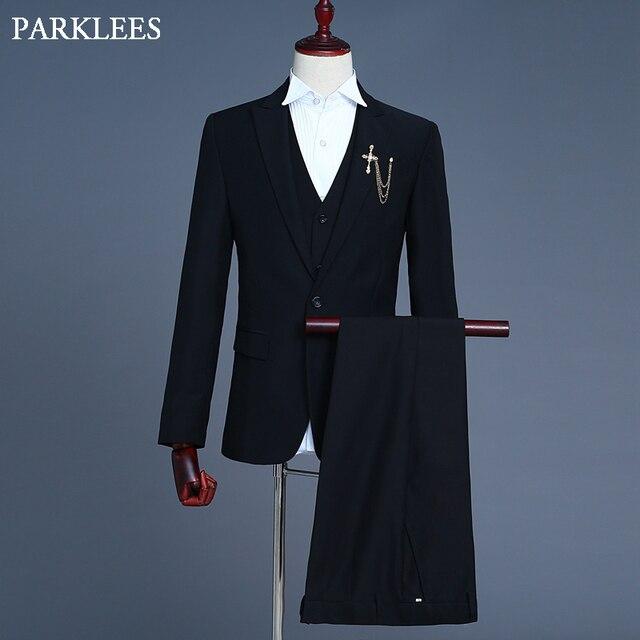 43c12e9d09b Casual 3 Piece Set Black Dress Suit Men Solid Color Mens Business Blazers  Jackets Prom Stage