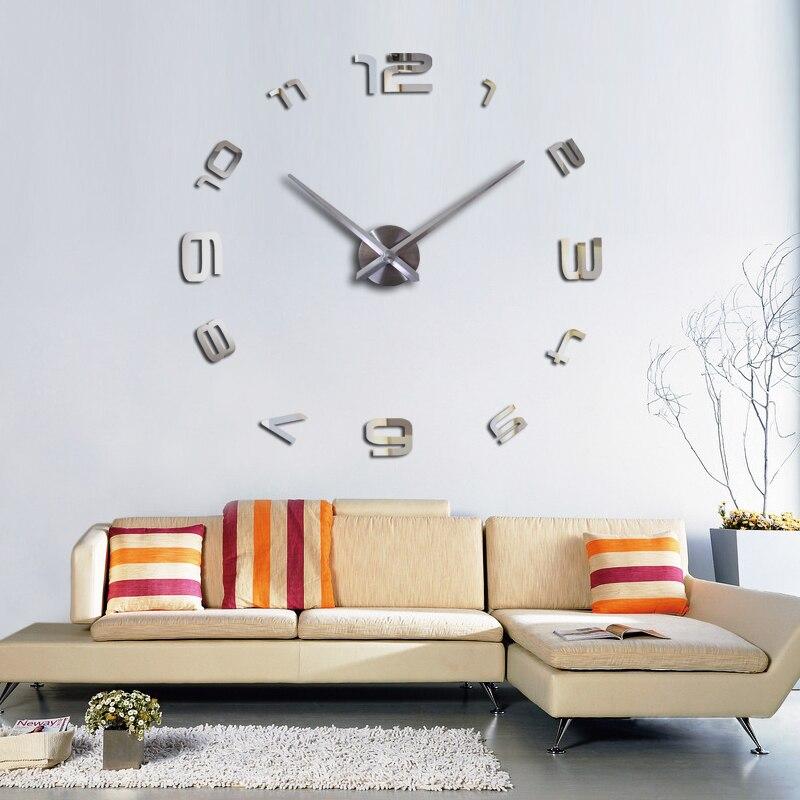 2019 3d diy qonaq otagi yeni akril kvars saati divar saati diy divar - Ev dekoru - Fotoqrafiya 6