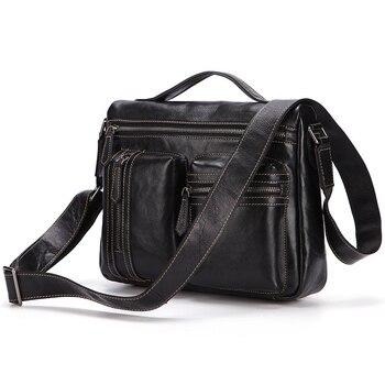 2018 Hot sale new men Genuine leather shoulder bag vintage Pure color top-handle bags Elegant Man Shoulder Bags black brown