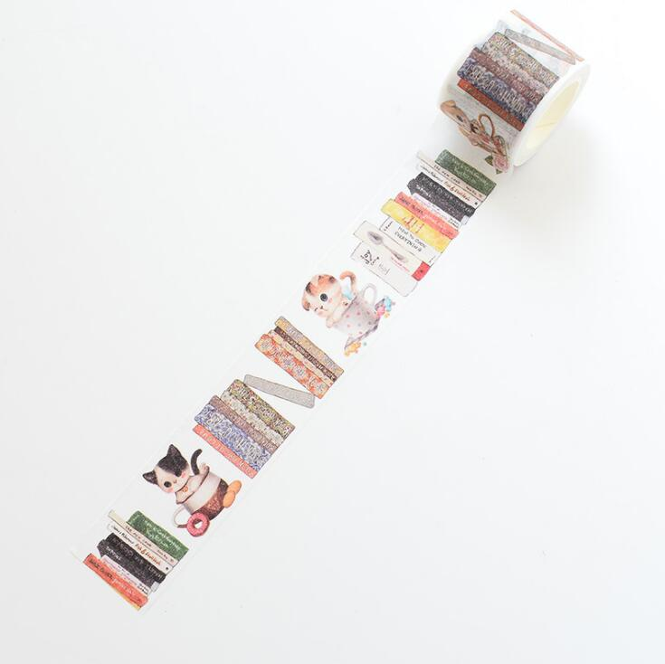 3 Cm Wide Reading Cat Washi Tape Adhesive Tape DIY Scrapbooking Sticker Label Masking Tape