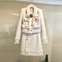 HAMALIEL Luxury 2019 Winter Women 2 Piece Set Black Woollen Tweed Diamonds Beadi