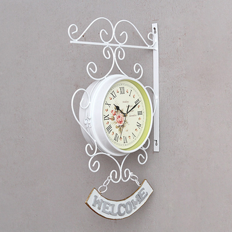 100% Brand New And High Quality Cockerel Bell Retro Beautiful Outdoor Double Side Clock Garden Wall Outside Bracket Station