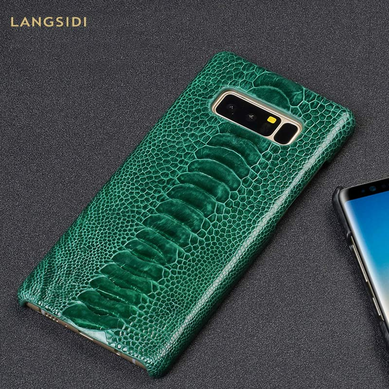 Natural ostrich skin Genuine Leather protective case for Samsung Galaxy S10 s9 s8 s7 For a70