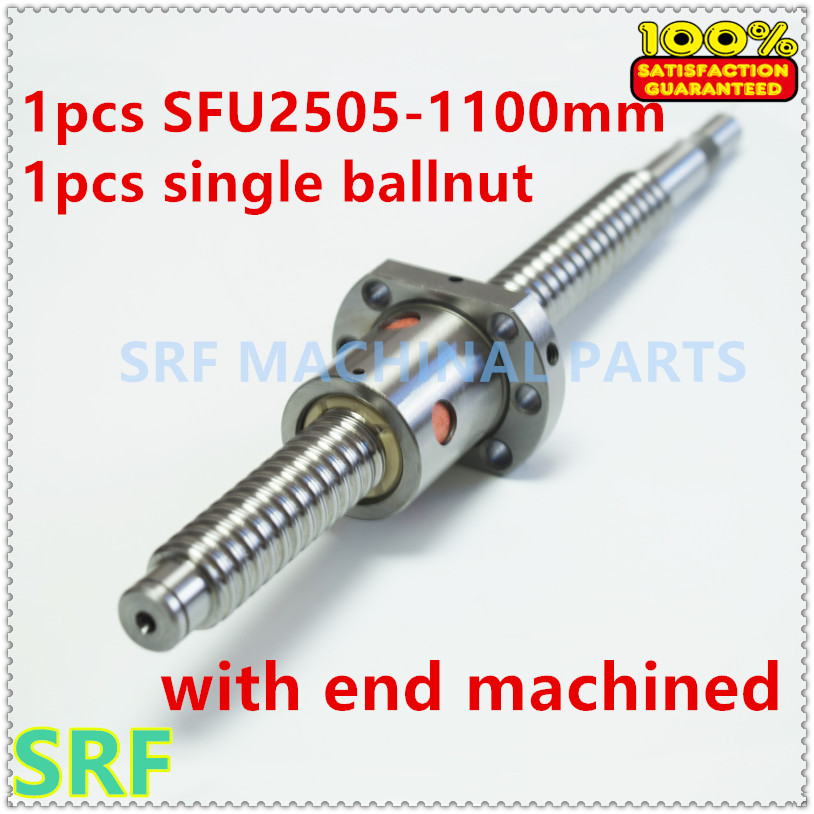 1pcs anti backlash 25mm Lead Ball screw  RM2505 Rolled ballscrew L=1100mm with SFU2505 ball nut  with  BK/BF20 end machined