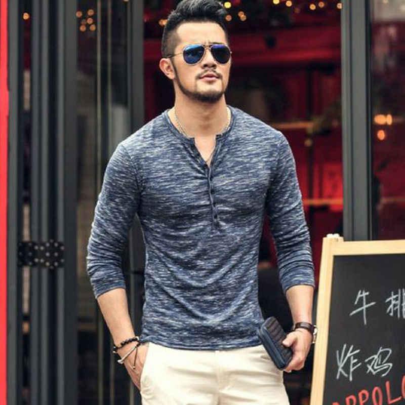Yeni Moda erkek Slim Fit V Boyun Uzun Kollu Kas Tee T-shirt Rahat Üstleri Sıska Erkek T-shirt