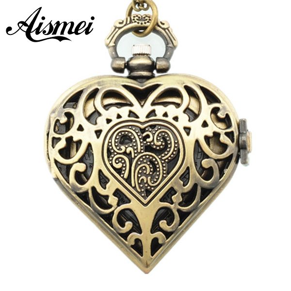Vintage Fashion Unique steampunk watch Hollow Out Cover Heart Shape Pendant Pocket Watch Long Chain Necklace for Women Gift 80cm vintage faux amethyst heart shape hollow out necklace for women