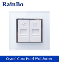 Wall White Socket Computer Telephone Connector Wall Socket Plug Wall Socket Crystal Glass Panel Outlet