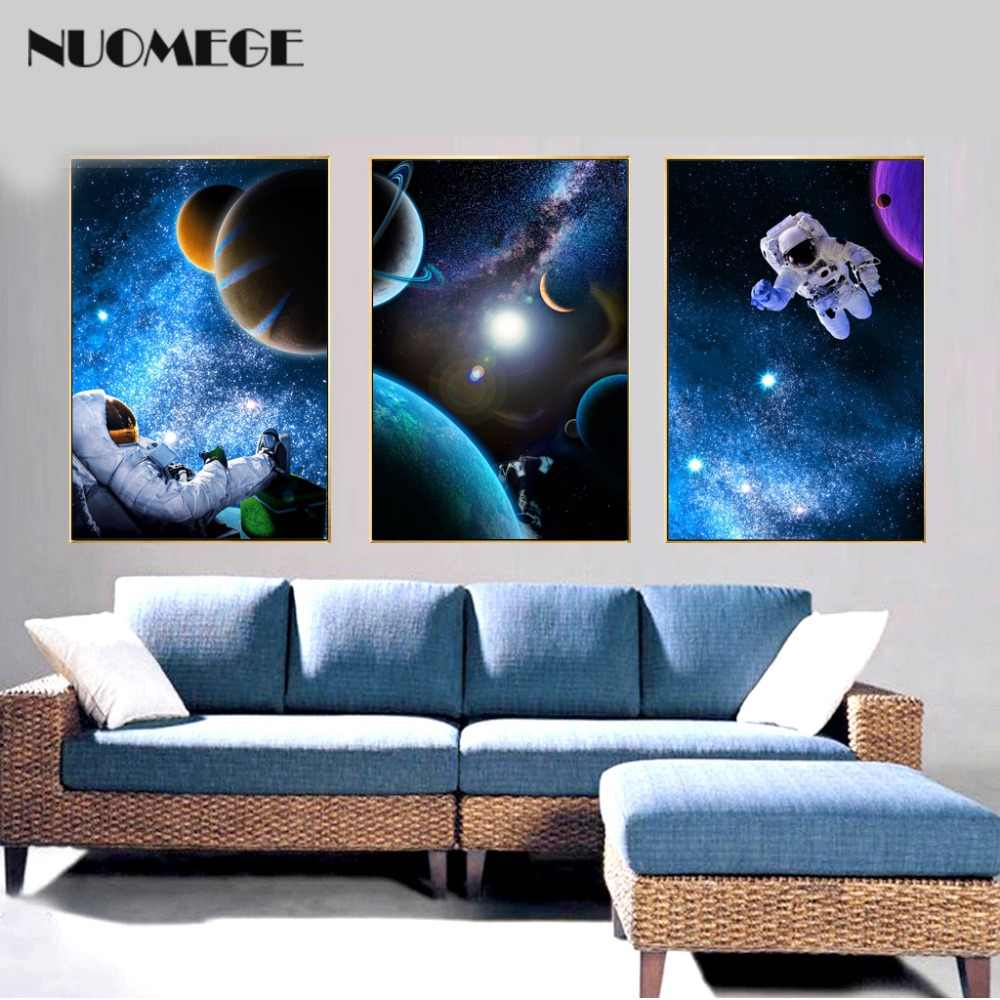 Nuomege الكون سلسلة حائط لوح رسم الفن للأطفال غرف الطفل غرفة نوم ديكور المنزل رواد الفضاء ملصق طباعة على الحائط الرسم والخط Aliexpress