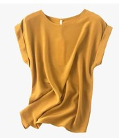 European station new mulberry silk, ginger yellow, fever color, round neck, shoulder sleeve, silk T shirt,