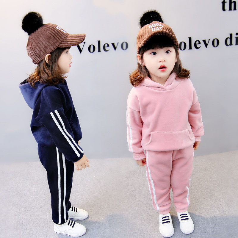 High-quality Children's clothing suits boys and girls long-sleeved hooded warm jacket + pants thickening1-4baby winter warm suit autumn winter boys girls clothes sets sports suits children warm clothing kids cartoon jacket pants long sleeved christmas suit