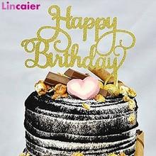 ハッピーバースデーグリッター紙ケーキトッパー 1st 誕生日パーティーの装飾女の子最初誕生日少年パーティー私 1 年間用品