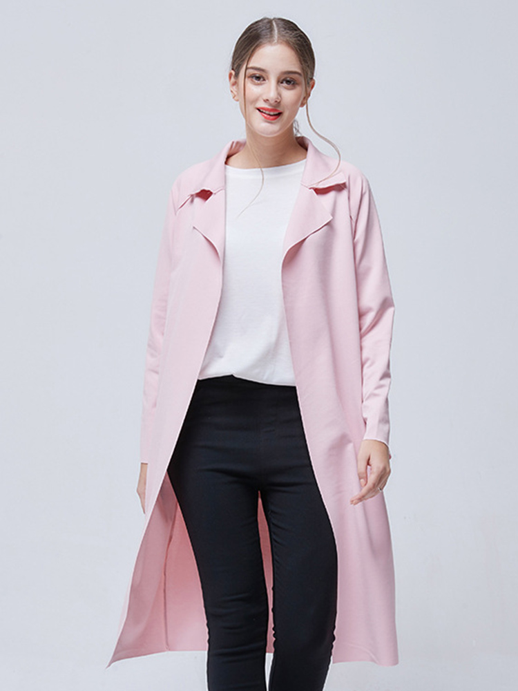 Winter Warm Coat Female Windproof Turn-down Collar Women European Solid Long Autumn Coat Wide-waisted Casual Fashion Thin Trench