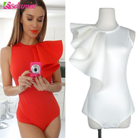 Hot Sell Fashion Ruffle Body Top Womens Sexy Bodysuit Black White Red Back Zipper Bodycon Bodysuit