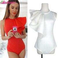 Hot Sell Fashion Ruffle Body Top Womens Sexy Bodysuit Black White Red Back Zipper Bodycon Bodysuit