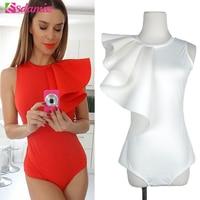 Hot Selling Fashion Ruffle Body Top Womens Sexy Bodysuit Black White Back Zipper Shorts Jumpsuit Sleeveless