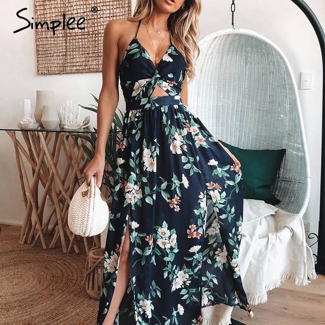 Simplee Sexy v neck maxi long dress Women vintage high waist split summer dress Floral print backless party dress vestidos 2019