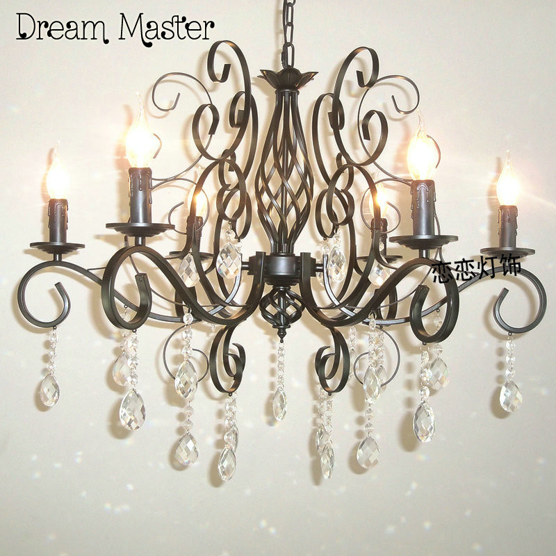 European style iron black crystal chandelier living room dining room bedroom staircase balcony bronze lamp free shipping luxurious crystal pendant lamp the european style living room lamps and lanterns creative bedroom crystal chandelier