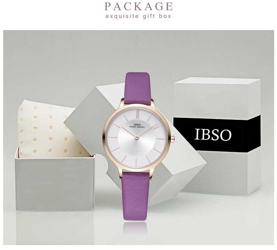 IBSO 8 MM Ultra-Thin Gray Leather Luxury Ladies Quartz Watch