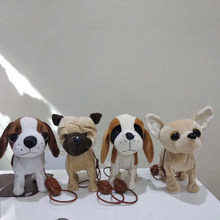 Cute Electronic Real Life Plush Dogs Sing And Walking SharPei Stuffed Animal Soft Doll Electic Dog Pet Funny Toys For Children(China)