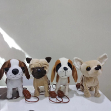 Cute Electronic Real Life Plush Dogs Sing And Walking SharPei Stuffed Animal Soft Doll Electic Dog Pet Funny Toys For Children