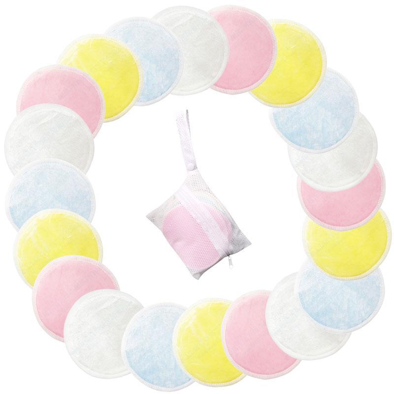 20 unids/lote reutilizables almohadillas de algodón que Facial removedor de doble capa limpiar almohadillas de Arte de uñas de limpieza almohadillas lavable con ropa bolsa
