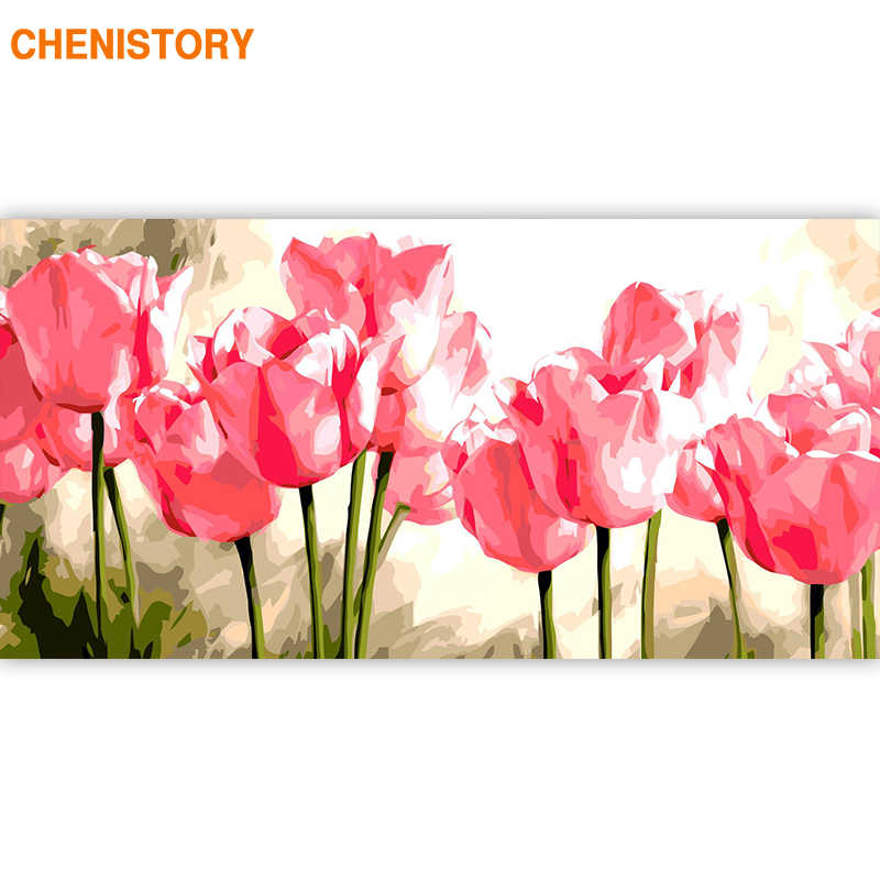 CHENISTORY 60x120cm Large Size Frame Flowers DIY Painting By Numbers Acrylic Paint On Canvas Modern Wall Art Picture Home Decors