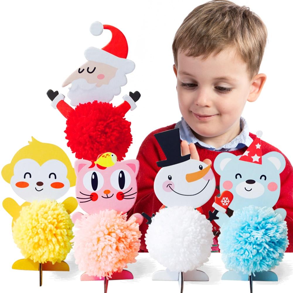 10 Pcs Kids DIY Toys Handmade Needle Felting Wool Felt Poke DIY Production Craft Toys Child Wool Weaving Winding Hair Ball Toy
