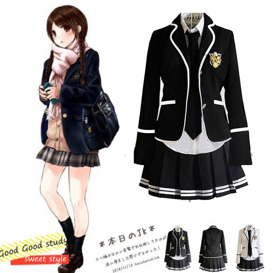 Fille japonais école uniforme Cosplay Costume noir rouge Plaid jupe hauts ensembles de manteau