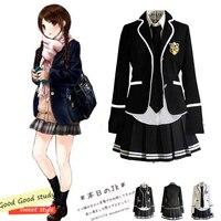 Girl Japanese School Uniform Cosplay Costume Black Red Plaid Skirt Tops Coat JK Sailor Suits Sets