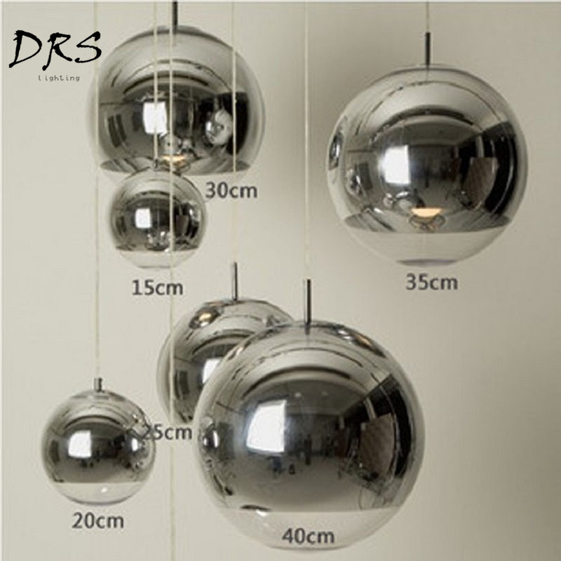 Modern Silver Copper Lighting Glass Glod Ball Pendant Light Round Ceiling Hanging Lamp Luminaire Kitchen Light Fixture