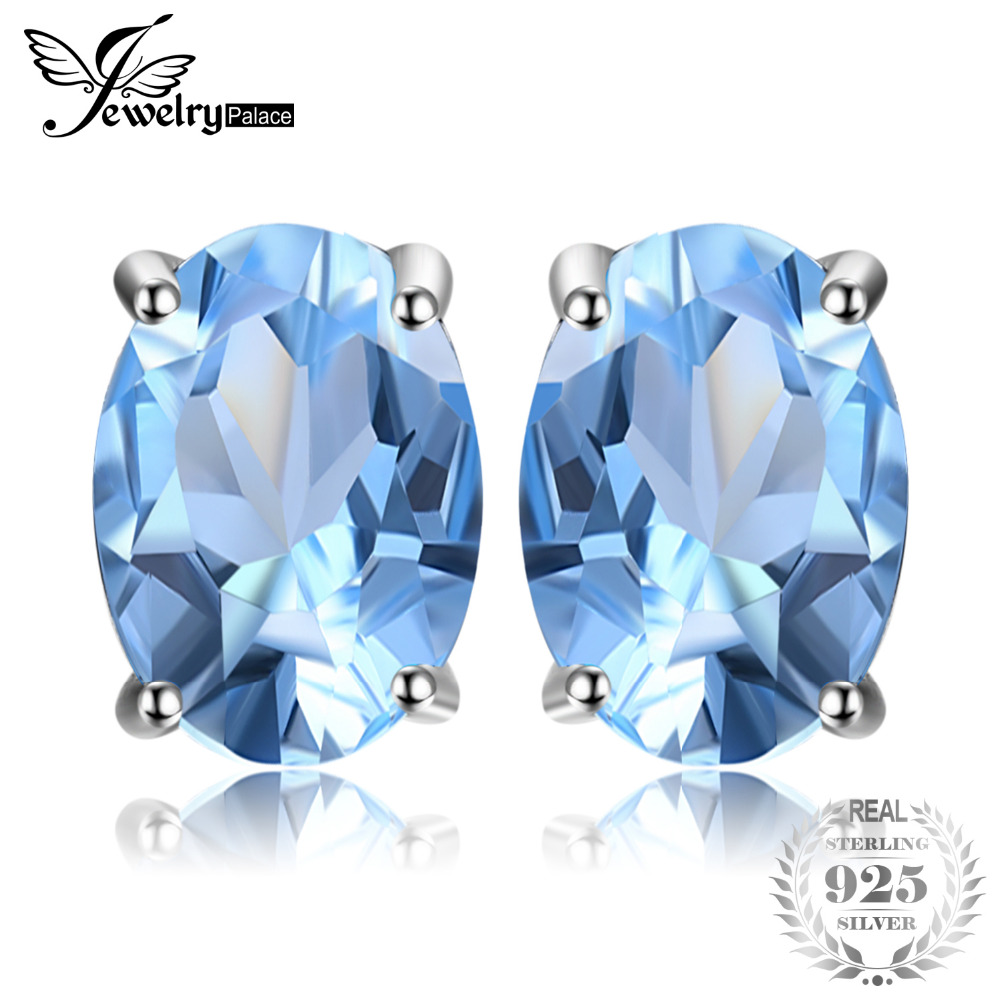 JewelryPalace Oval 1.9ct Natural Sky Blue Topaz Birthstone Stud Earrings Solid 925 Sterling Silver 2018 Fine Jewelry For Women