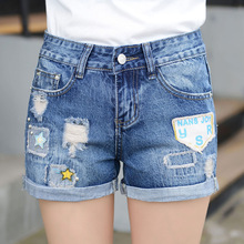 The new female denim shorts jeans female low-waist shorts 2016 women's jeans female Korean hole denim shorts curling 9919