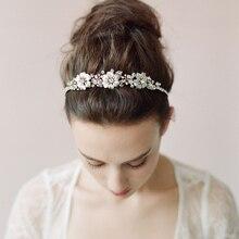 Wedding Dress Bridal Crystal Floral Headband Hand-woven Plants Leaves HeadWear High Quality Hair Accessories For Women