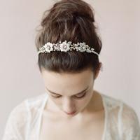 Wedding Dress Bridal Crystal Floral Headband Hand woven Plants Leaves HeadWear High Quality Hair Accessories For Women O040