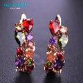 MECHOSEN Luxury Copper Stud Earrings Colorful Rhinestone Jewelry CZ Zircon Prong Setting Crystal Brincos Women Girls Accessories