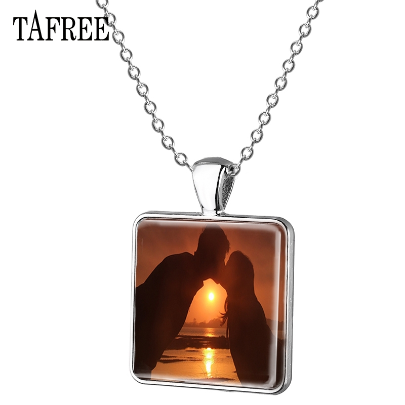 TAFREE Simple Valentine's Day Square Necklace Kiss beach Antique Silver Plated Dropshipping Gift For Women Jewelry FQ832