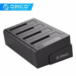 ORICO 6648US3-C USB 3.0 2.5 و 3.5 بوصة SATA قرص صلب خارجي حوض 4-خليج خارج الخط استنساخ قاعدة تركيب الأقراص الصلبة- الأسود