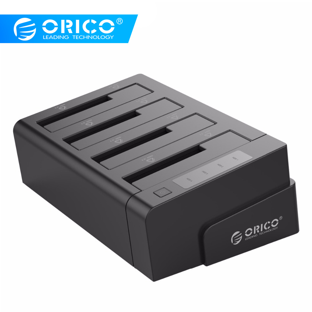 ORICO 6648US3-C USB 3.0 2.5 & 3.5 inci SATA Hard Drive Eksternal Dock 4-Bay Off-line Clone Hdd Docking Station - Hitam