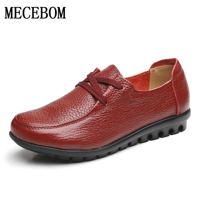 2017 Women Genuine Leather Shoes Handmade Casual Women Flat Shoes Loafers Moccasin Comfortable Soft Creeper Women Shoes 888W