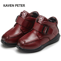 2018 New Winter children genuine leather boots boys ankle boots kids cowhide boots Genuine Soft Leather With Plush Warmth shoes