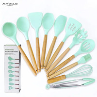 XYZLS Silicone Cooking Utensils Set Kitchen Cooking Tools Set With Natural Wooden Handle Nonstick Cookware