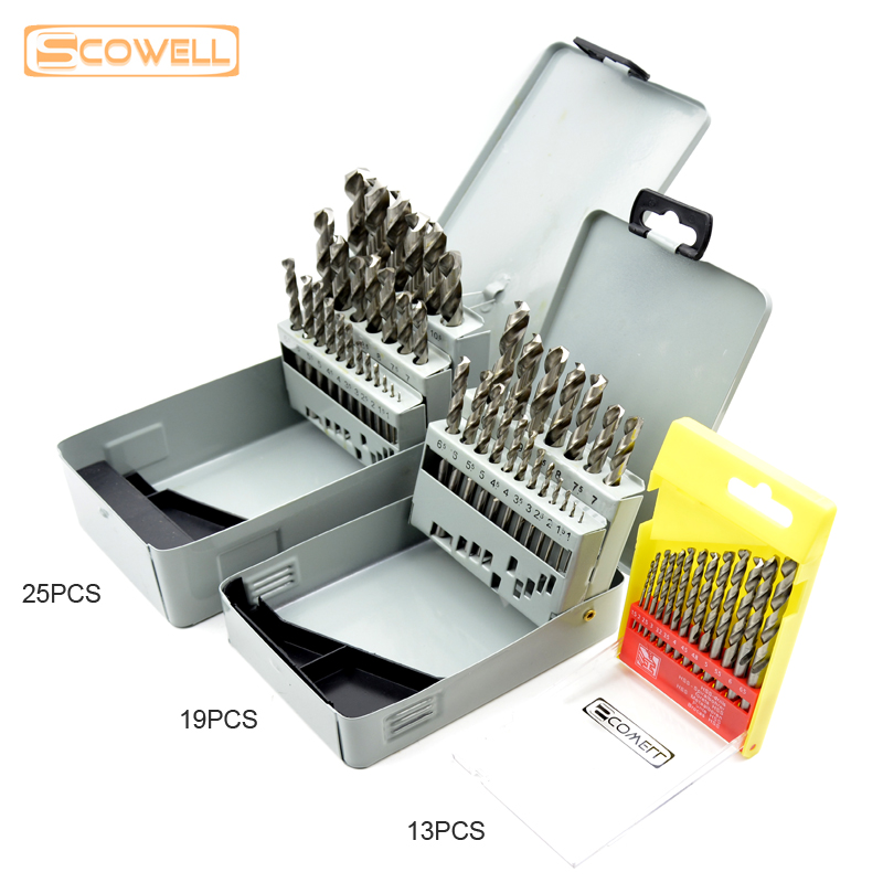 30% Off Free Shipping 13pcs kit 19pcs, 25pcs kit HSS Twist Drill Bits Set Metal Drill Bits Cobalt Drill Bit For Stainless steel 13pcs lot hss high speed steel drill bit set 1 4 hex shank 1 5 6 5mm free shipping hss twist drill bits set for power tools
