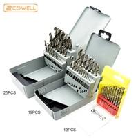 Free Shipping 13pcs Kit 19pcs Kit 25pcs Kit HSS Twist Drill Bits Set Metal Drill Bits