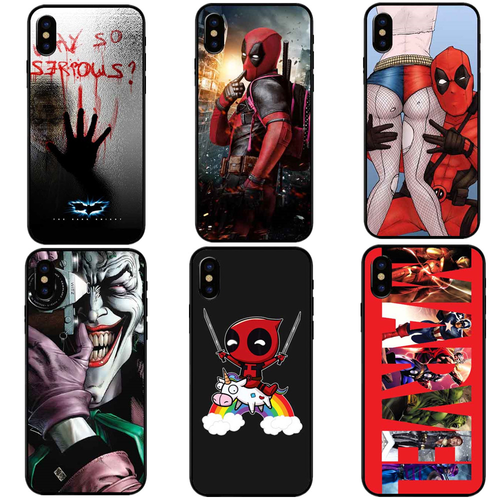 Superman Spiderman Captain America Deadpool Marvel Black Hard PC Cover For iPhone X 10 5 5S SE 6 6S Plus 7 XR XS MAX 8 8 Plus marvel glass iphone case