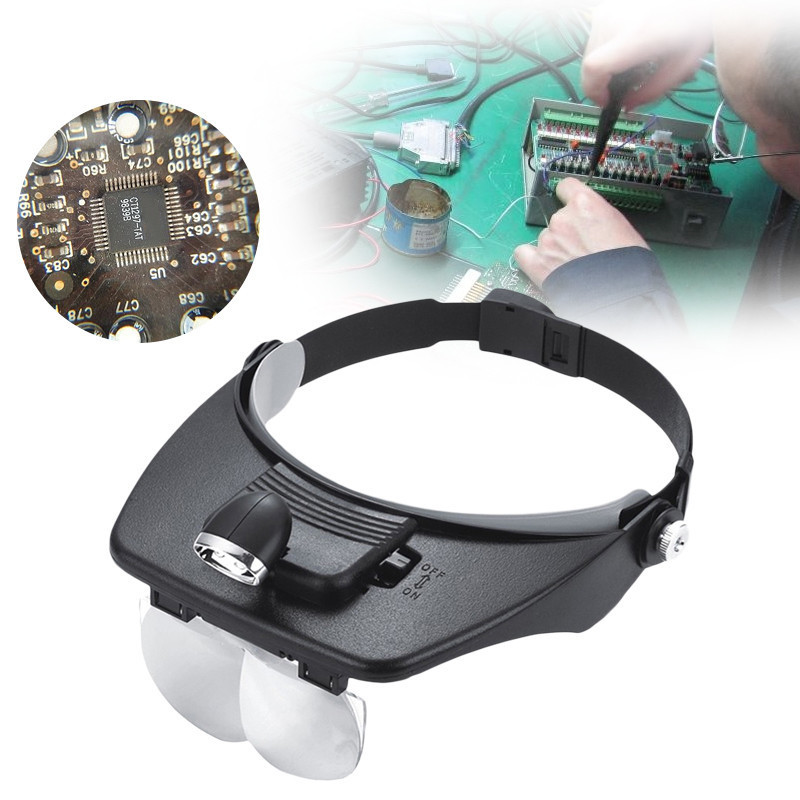 Four Lens Head Wearing Magnifier With Light 1.2X,1.8X,2.5X,3.5X Head Magnifying Glass For Reading Jewelry Watch Repair ...